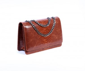 medium printed python dark brown profile